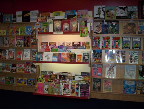 Horror and independent collections; comics technique non-fiction books.